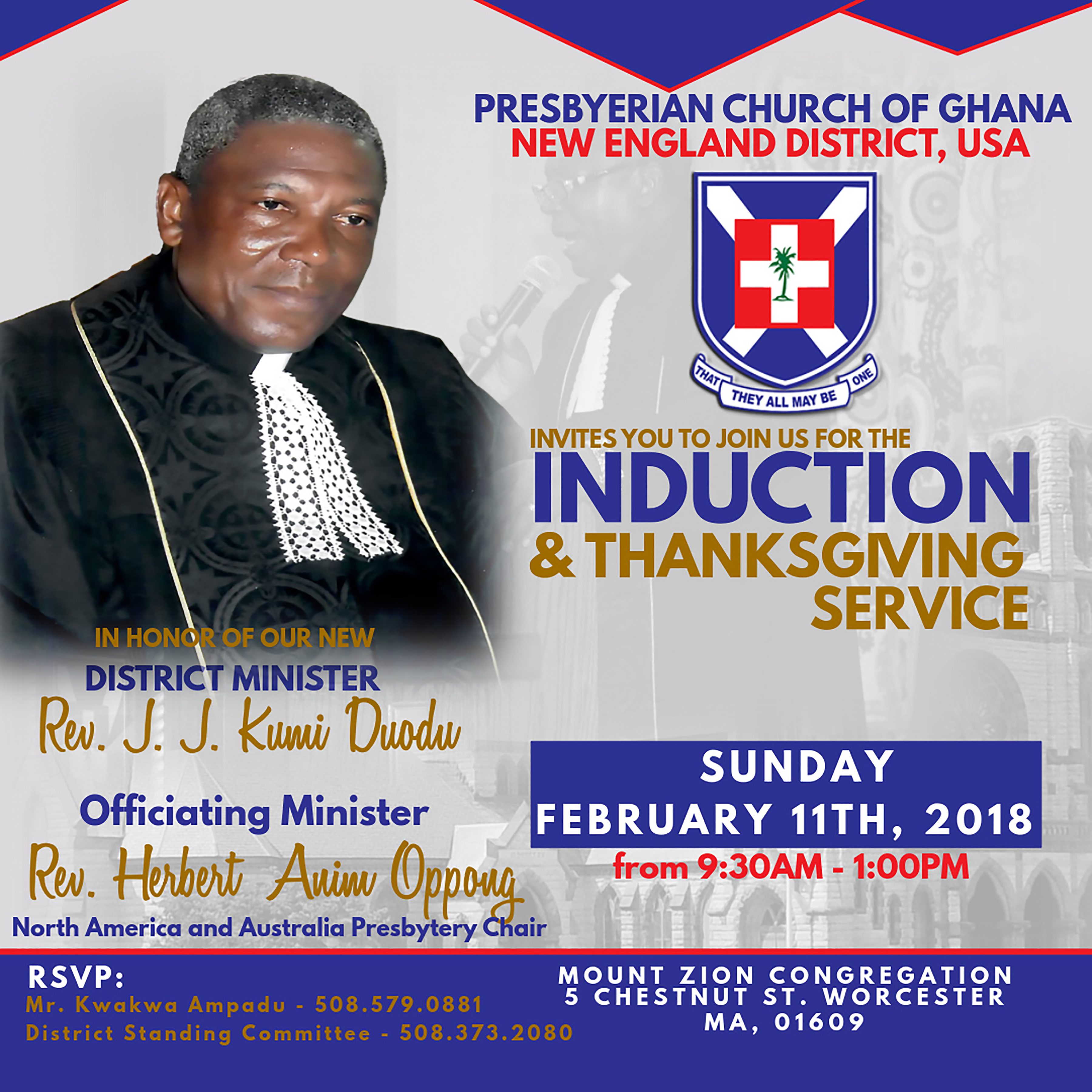 District Minister's Induction and Thanksgiving Service