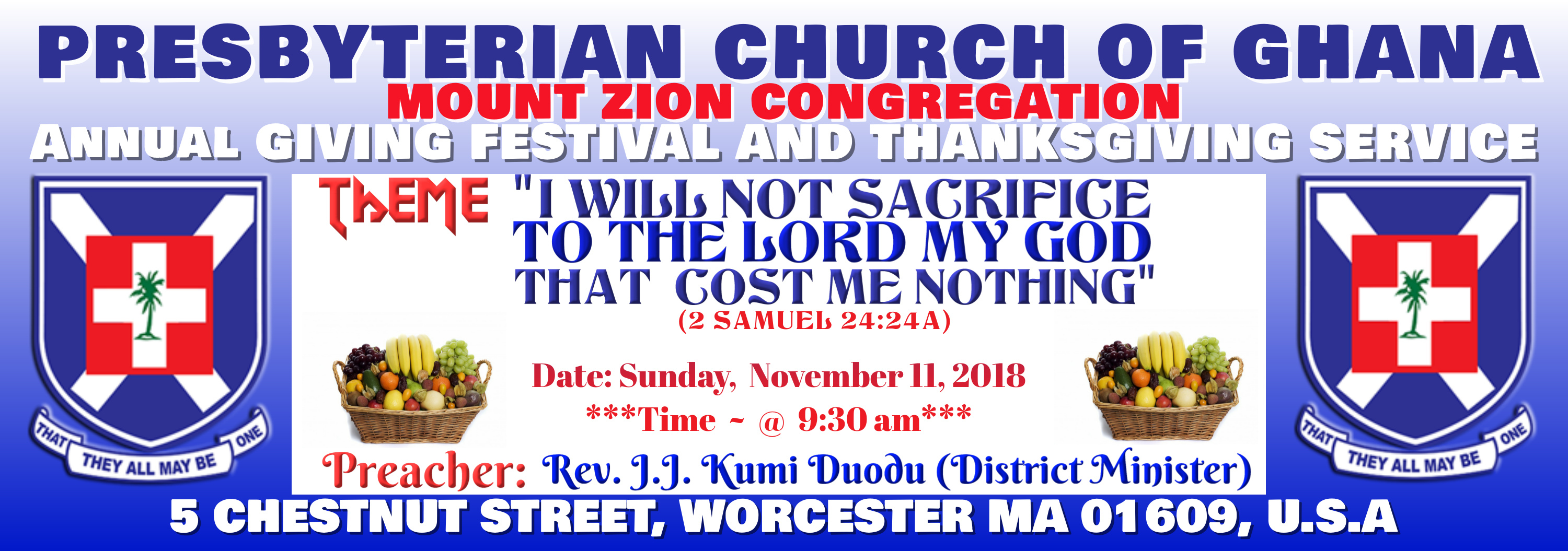 Annual Giving and Thanksgiving Service @ Mount Zion Congregation
