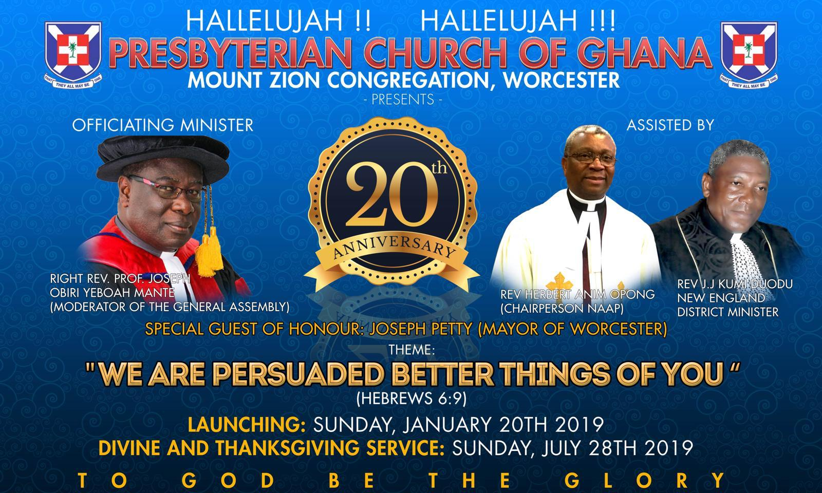 PCG-Mount Zion Congregation's 20th Anniversary Celebration