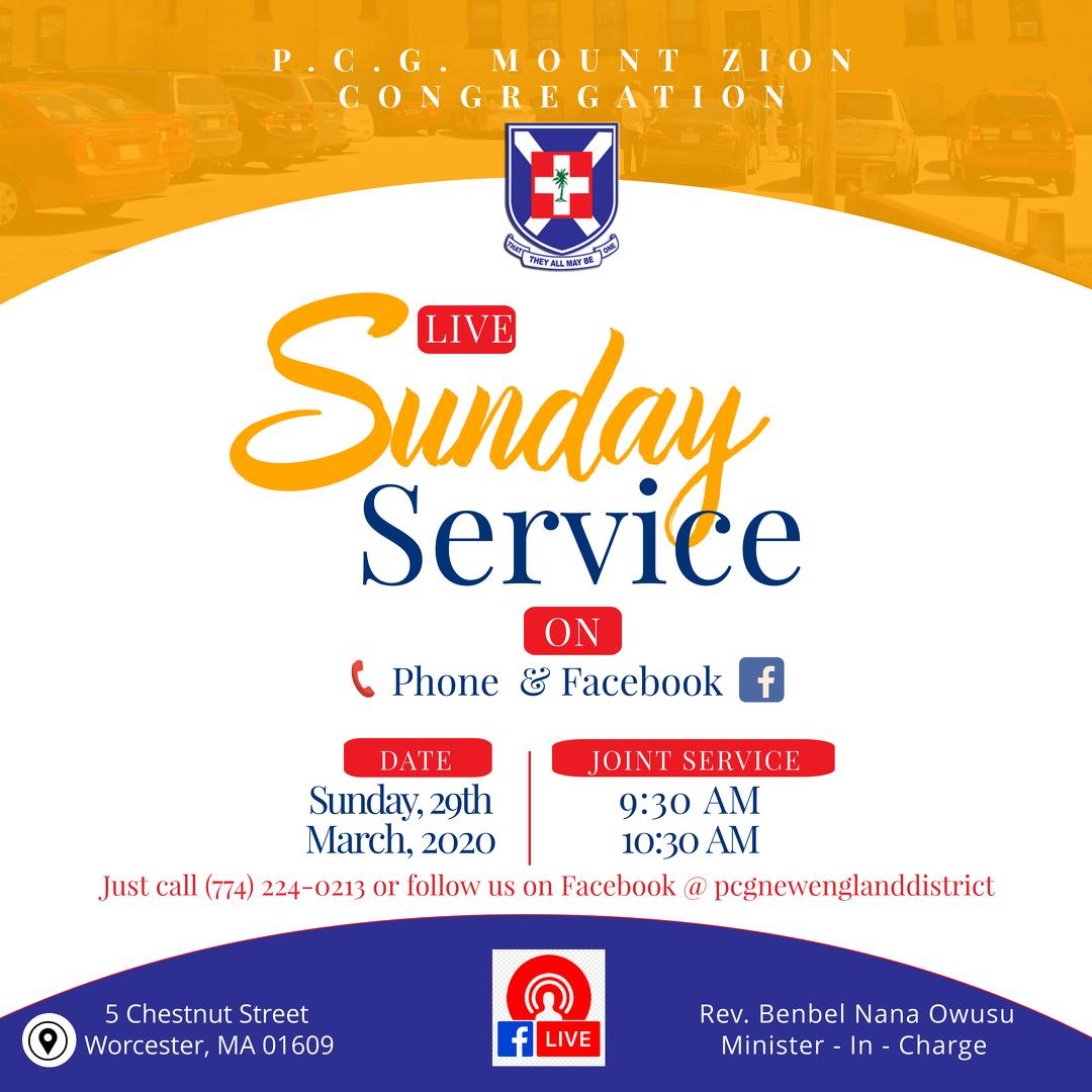 Online Sunday Service - P.C.G. Mount Zion