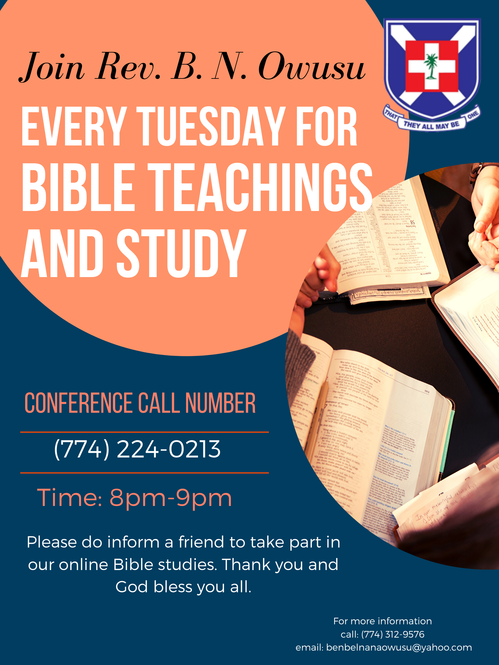 Tuesday's Bible Teachings and Study with Rev. B.N. Owusu