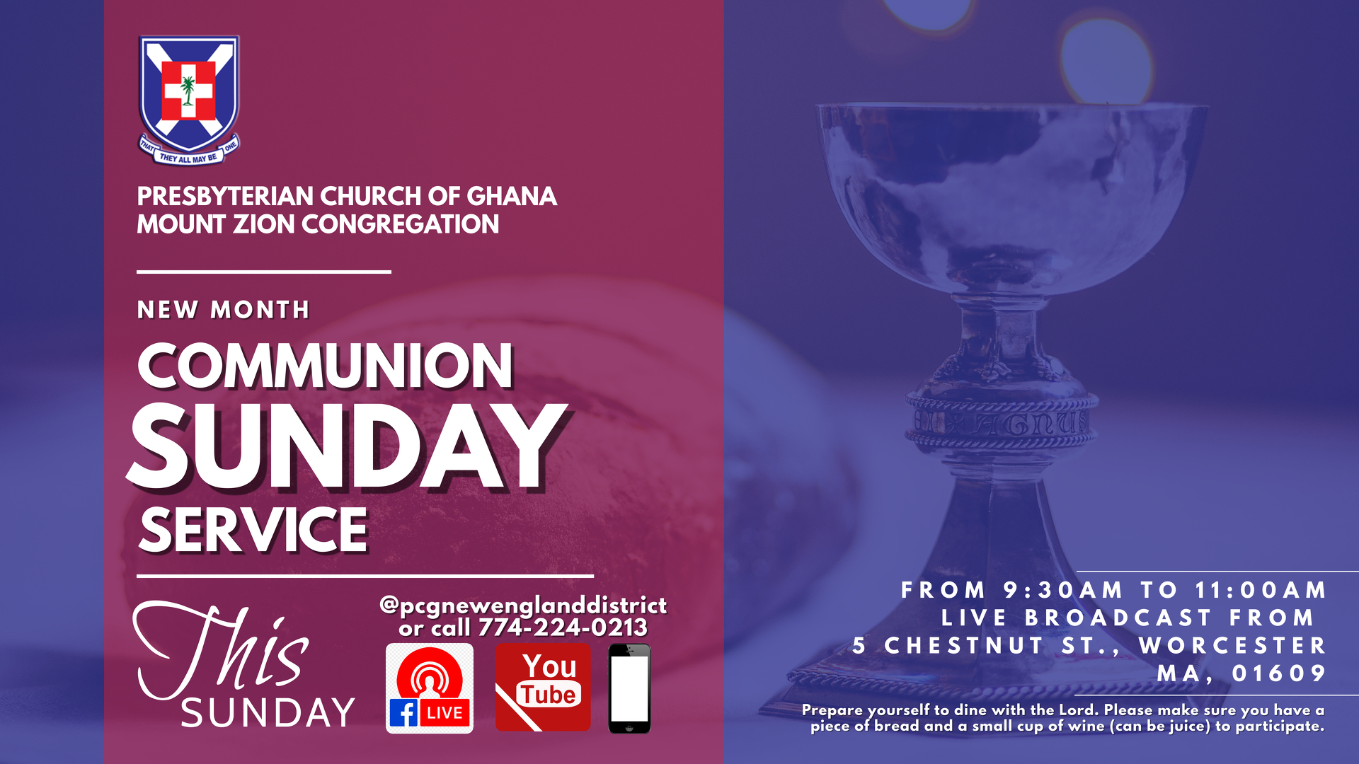 P.C.G. Mount Zion Online Communion Service